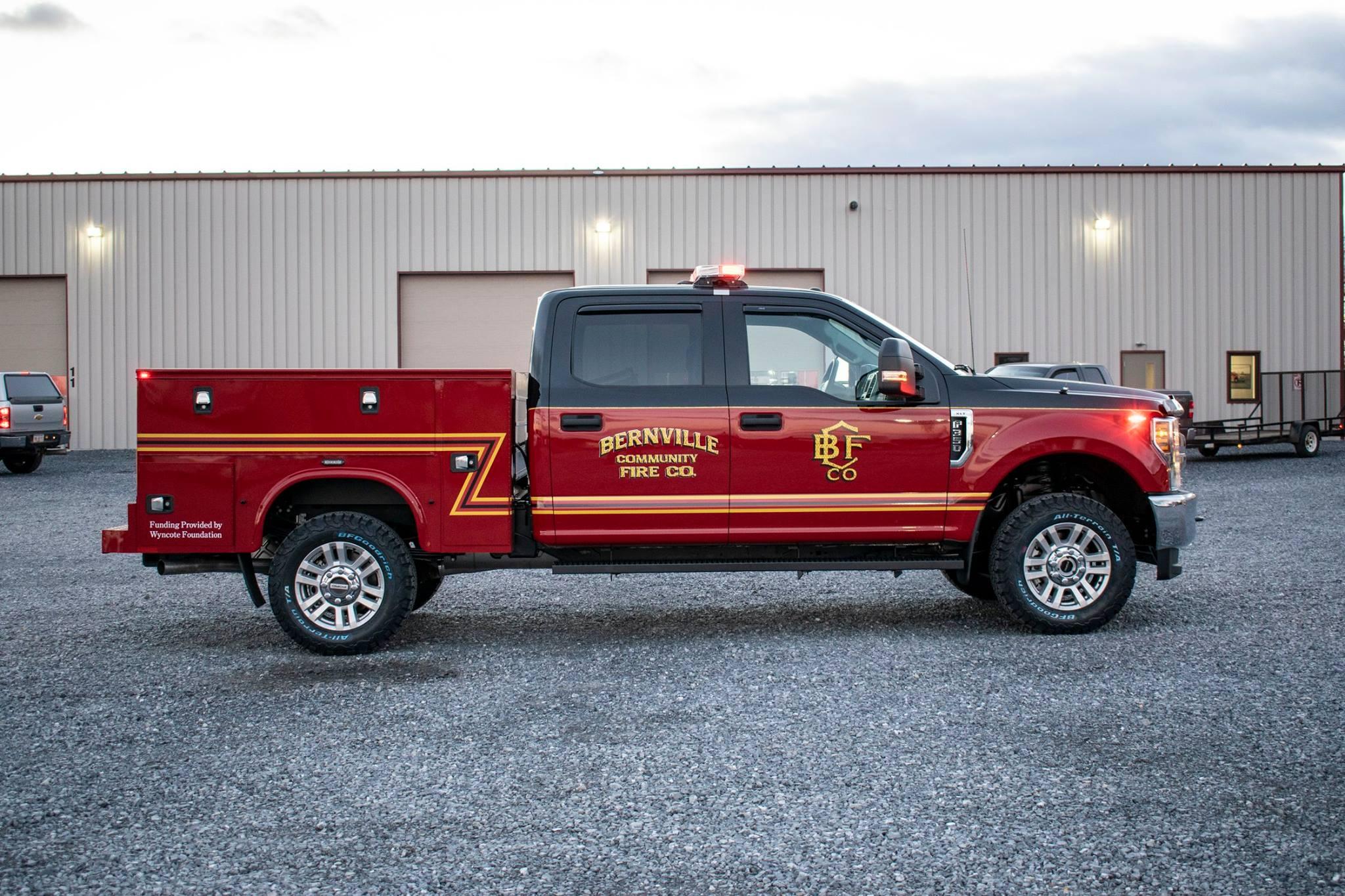red bernville community fire co. fire truck