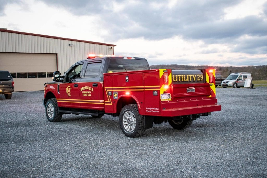 back of bernville community fire company fire truck