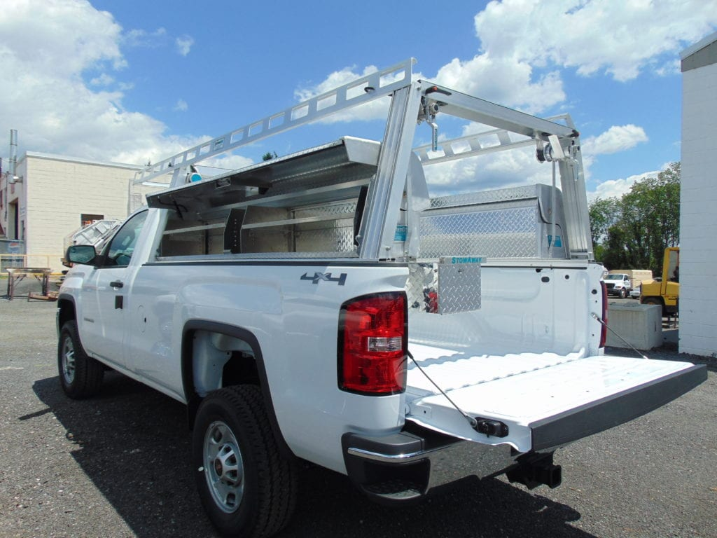storage in a white pickup truck