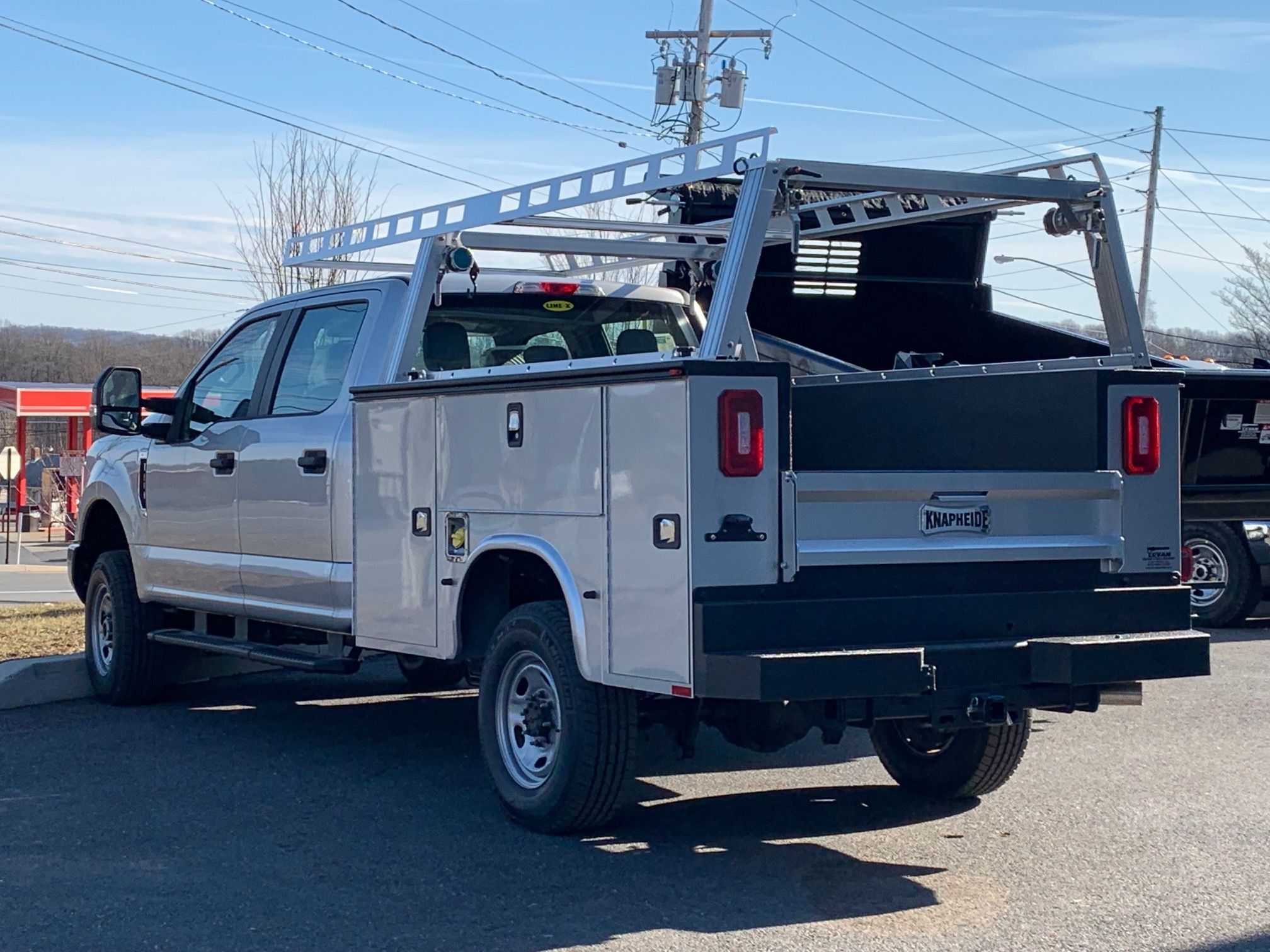 back of parked work truck