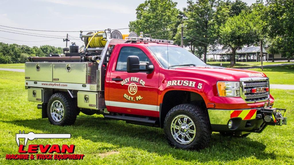side of oley, pa fire company fire truck