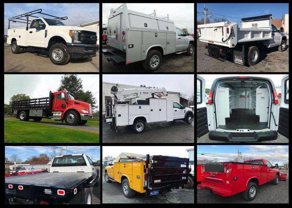 Collage of work trucks and dump trucks
